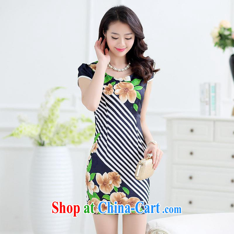 Improved cheongsam 2015 summer fresh elegant middle-aged dresses package and short, cultivating graphics thin stamp cheongsam dress stitching spell color style MOM black XXL