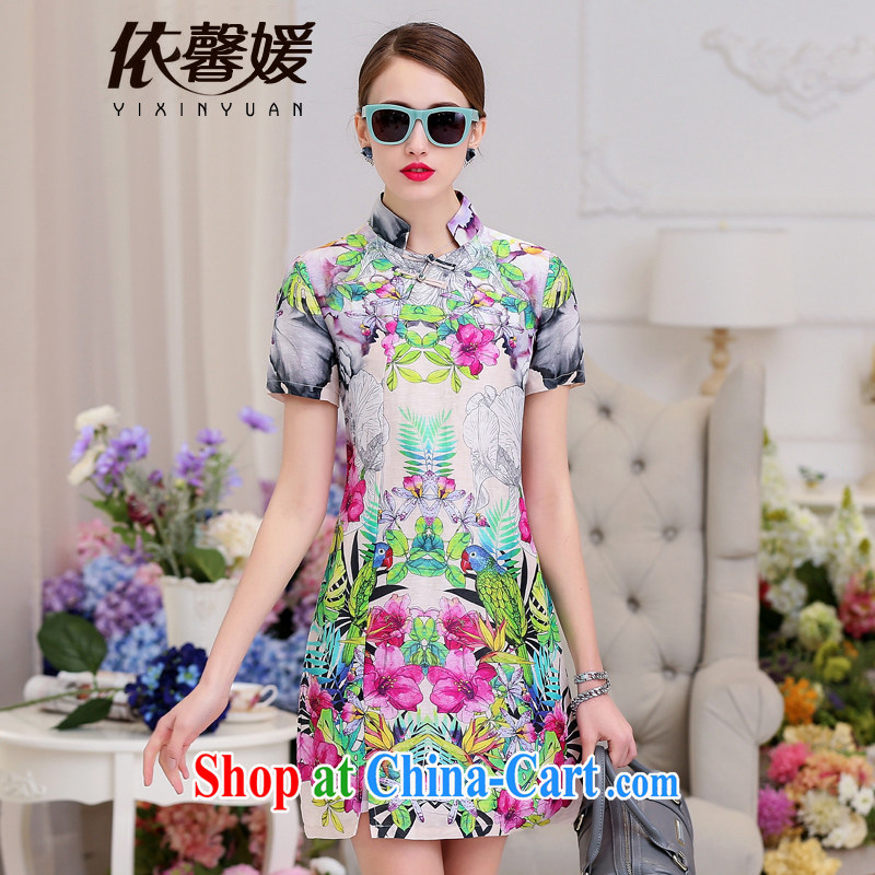 According to Xin Yuan 2015 summer new silk dress short-sleeved sauna silk high-end antique paintings beauty stamp sauna Silk Cheongsam spring flowers XL