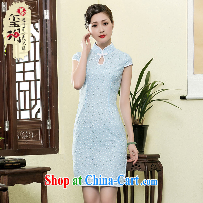 Yin Yue NARS summer 2015 new cotton Ma Shu Shen cheongsam daily improved arts of Korea wind cheongsam dress light blue XXL