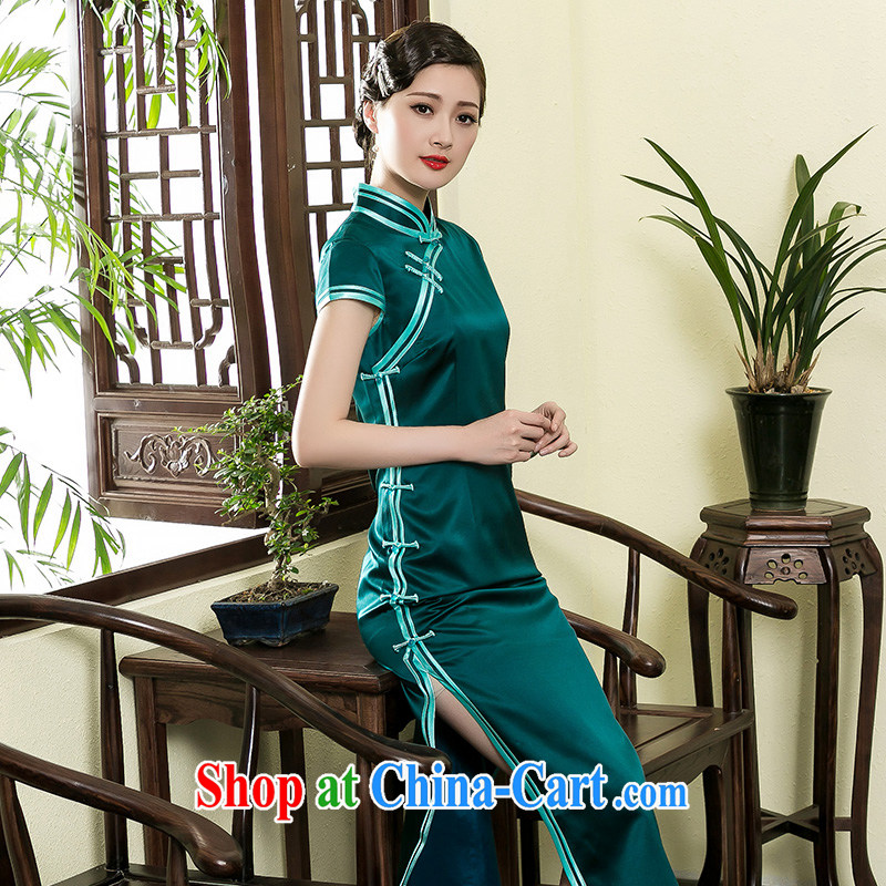 Yin Yue seal summer new heavy silk long robes daily improved banquet elegant qipao gown dresses green XXL