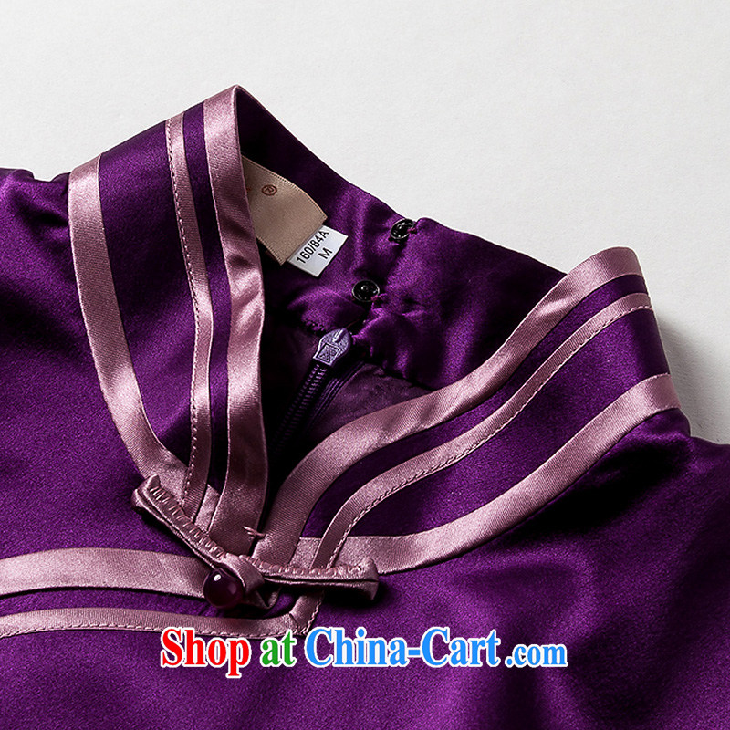 Yin Yue seal summer new heavy silk long robes daily improved banquet elegant qipao gown dresses green XXL seal, Yin Yue, shopping on the Internet