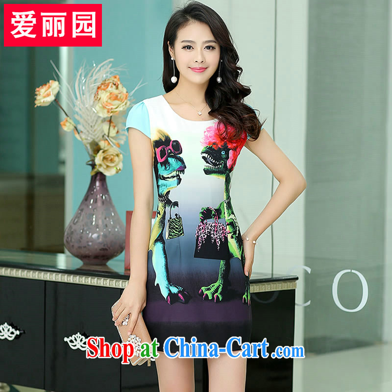 Alice Park 2015 summer new women with short-sleeved cheongsam dress beauty graphics thin skirt in package and further skirt classic ladies dress spend summer XXXL