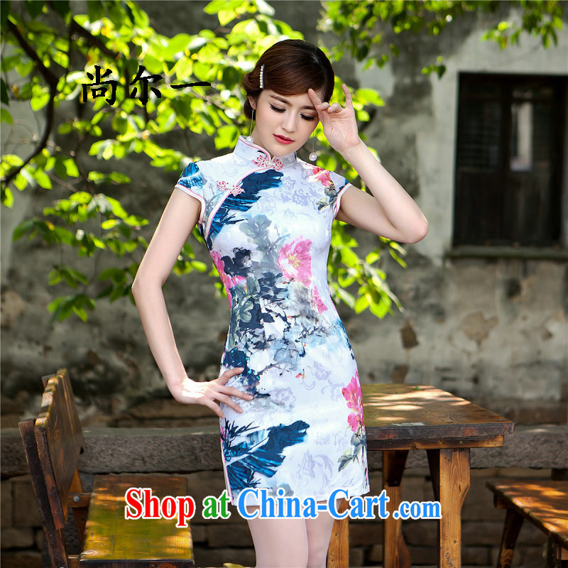 Still, 12,015 in spring and summer, new dresses retro short high on the truck cheongsam dress 52,111 Map Color XXL