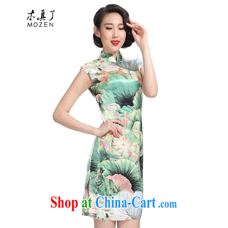Wood really improved cheongsam dress 2015 new summer graphics thin beauty Lotus retro dresses 01,097 19 green leaf powder take XXXL