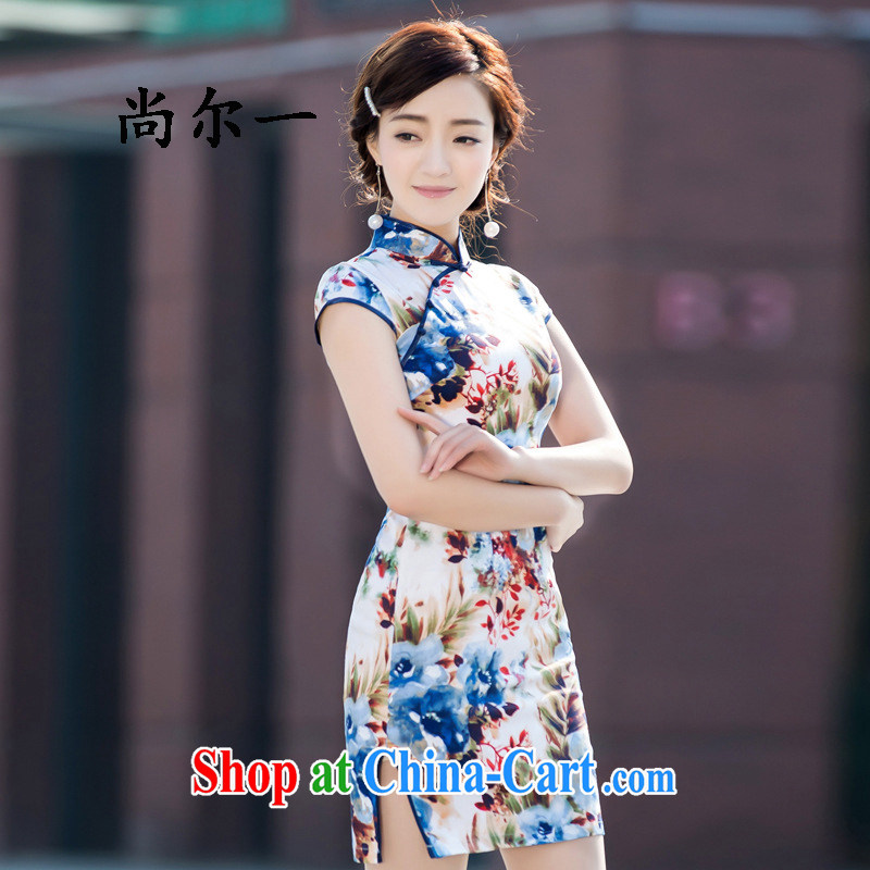 There's a new summer dresses daily improved Stylish retro beauty short cheongsam dress dress 5212 Map Color XXL