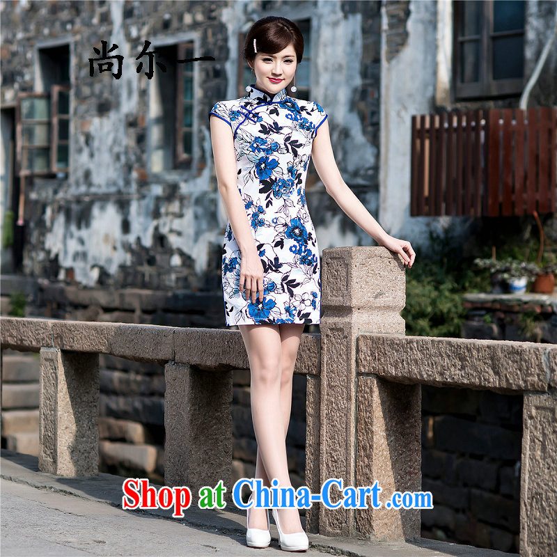 It's a stylish everyday dress retro style beauty short cheongsam dress elegant ladies dresses 5214 Map Color XXL