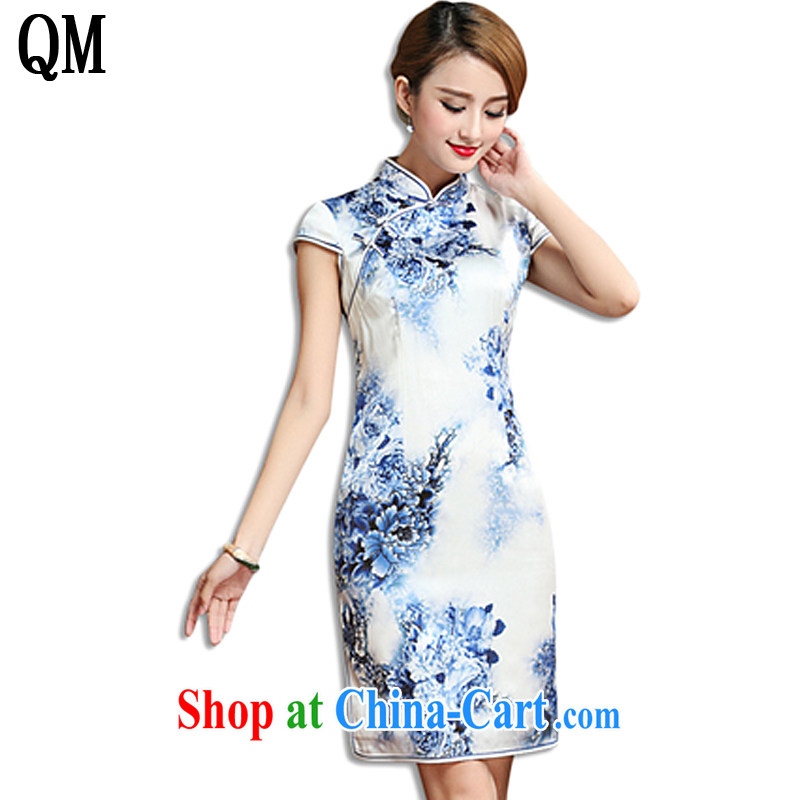 Shallow end, high-end heavy Silk Cheongsam dress 2015 summer sauna silk old Shanghai qipao dresses AQE 010 blue and white porcelain XXXL