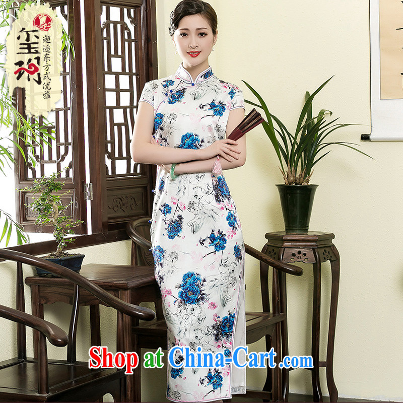 Yin Yue NARS summer 2015 new heavy silk stamp long cheongsam retro silk high-end stylish girl dresses picture color XXXL