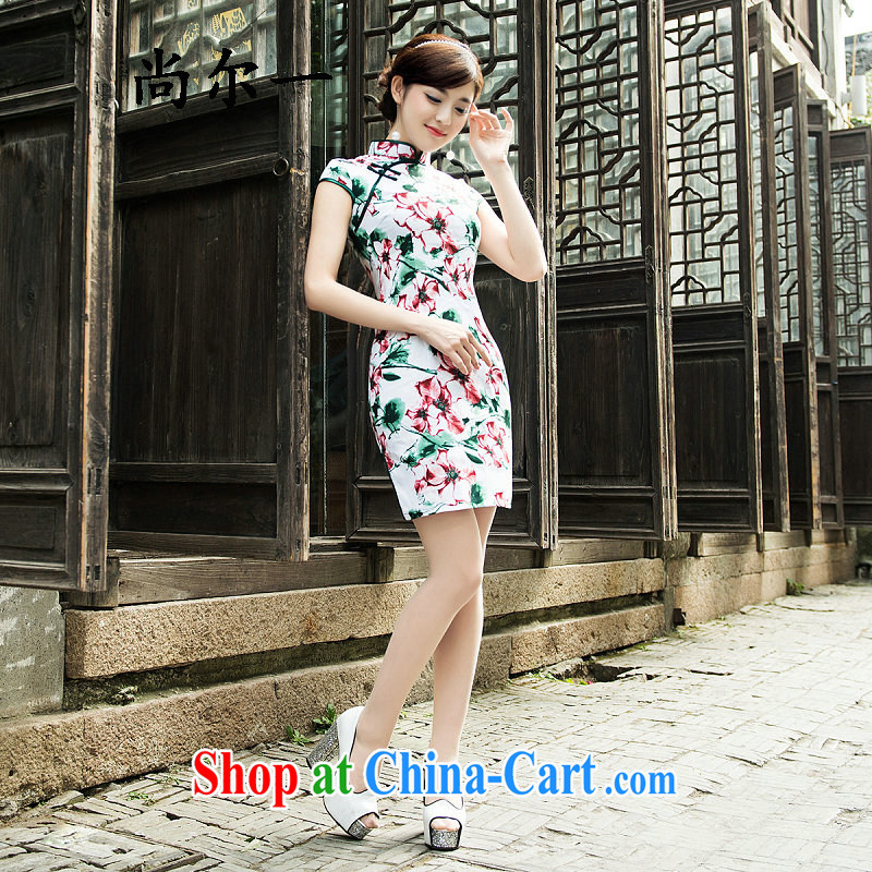 There's a new outfit retro style improved daily short cheongsam dress style beauty sexy graphics thin 5215 Map Color XXL