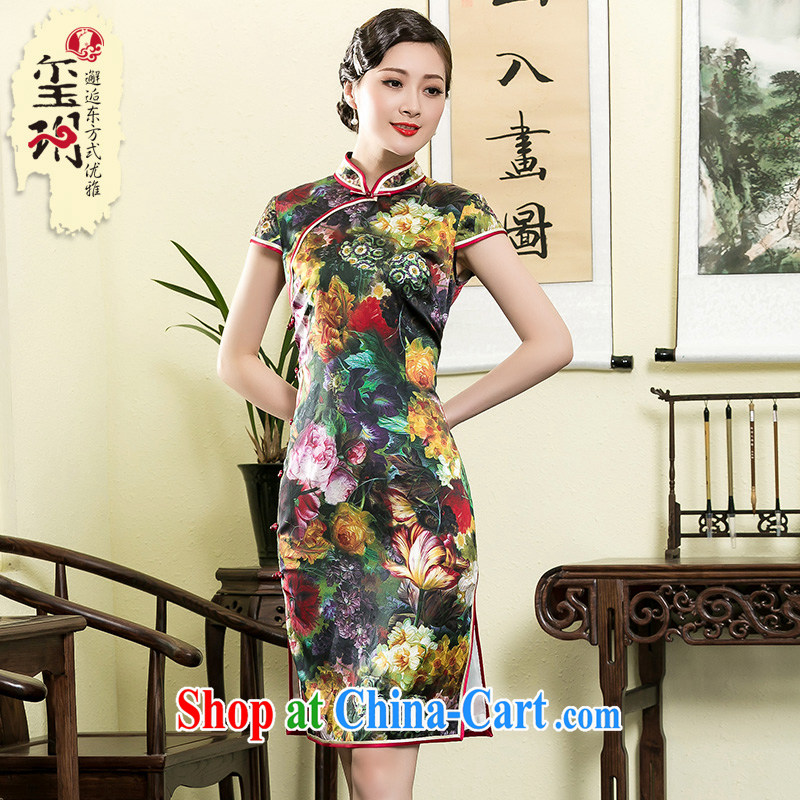 Yin Yue NARS summer 2015 new heavy silk digital stamp cheongsam stylish Old Shanghai retro improved dresses picture color XXXL
