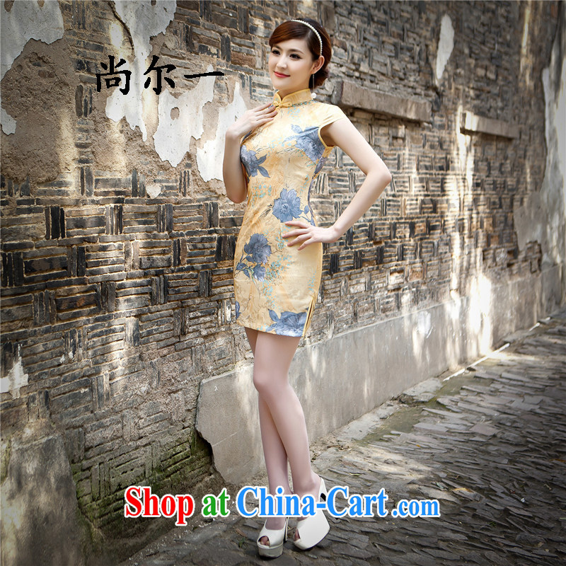 Still, 12,015 new Chinese lady stylish improved retro jacquard cotton cultivating daily short cheongsam dress with skirt 5216 Map Color XXL
