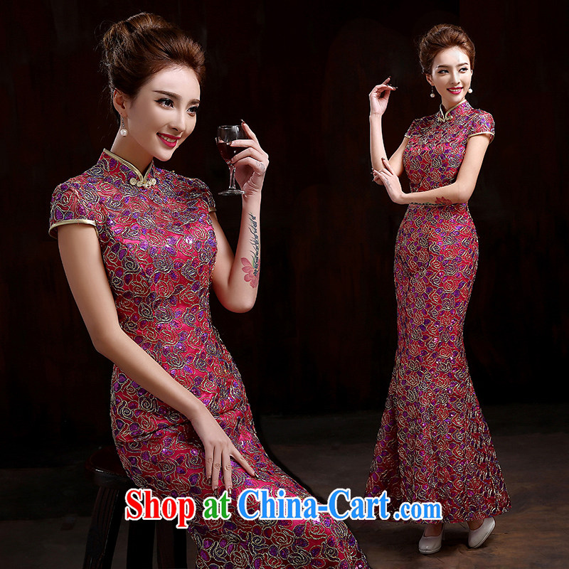 Pure bamboo yarn love 2015 new better red bridal wedding dresses dress long evening dress evening dress uniform toasting new lace crowsfoot cheongsam beauty of red XXL