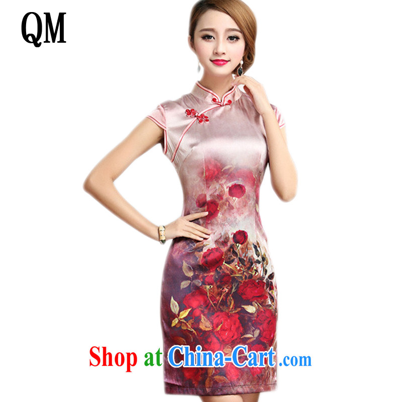 Shallow end elegance Silk Cheongsam qipao summer short, cultivating improved daily cheongsam dress AQE 007 Map Color XXL