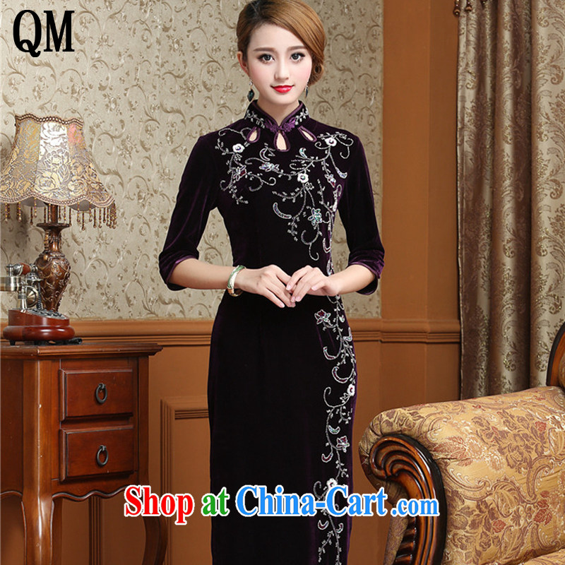 The end is cultivating the cheongsam dress code length, the velvet cheongsam dress MOM retro wedding dress uniform toast AQE 012 purple cuff in XXXXL