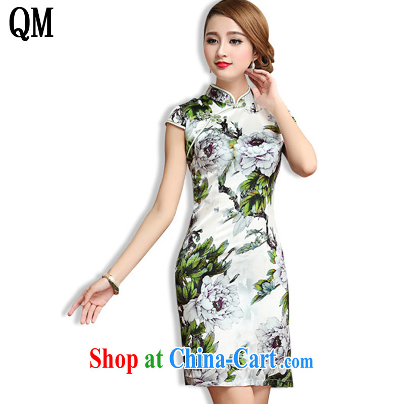 Shallow end, Ms. 2015 summer heavy Silk Cheongsam retro beauty short-sleeved sauna Silk Cheongsam dress AQE 013 green XXL
