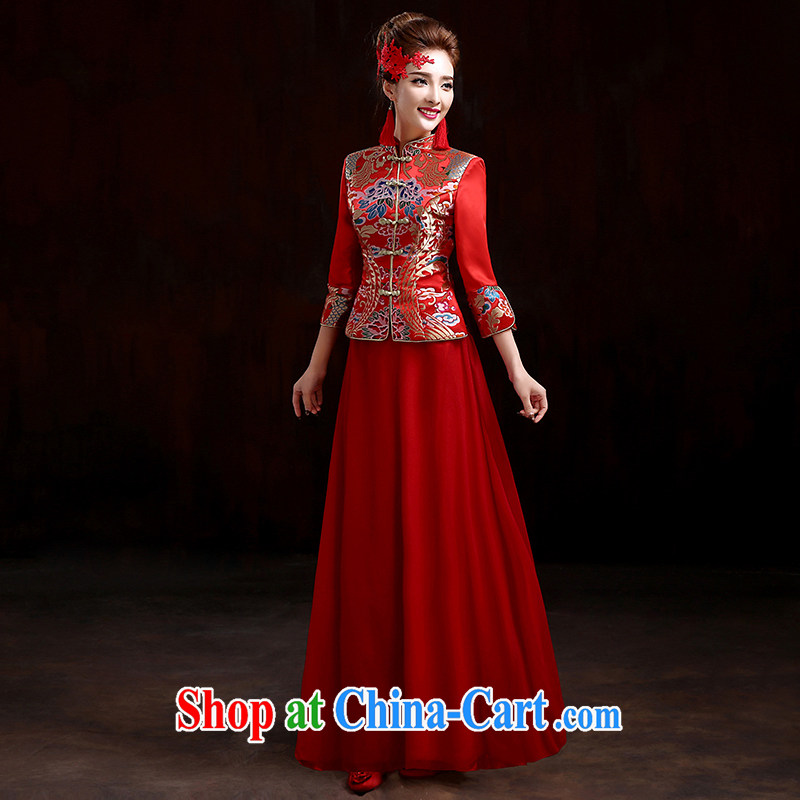 Pure bamboo love yarn-su Wo service 2015 new high-end bridal wedding dresses retro toast service kit spring dresses long Chinese wedding dress red XXXL