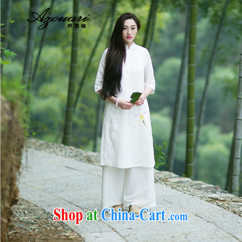 The TSU defense (Azouari) yeast Wash linens quiet comfort, for the charge-back hand-painted Jade buckle gown improved cheongsam dress white L