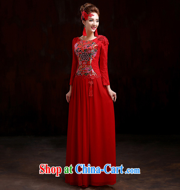 Spring bridal toast service 2015 New Red wedding dresses long-sleeved gown beauty and stylish wedding dresses improved cheongsam dress red XXXL pictures, price, brand platters! Elections are good character, the national distribution, so why buy now enjoy more preferential! Health