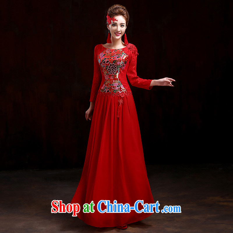 Spring bridal toast service 2015 New Red wedding dresses long sleeved gown beauty stylish wedding dresses improved cheongsam dress red XXXL