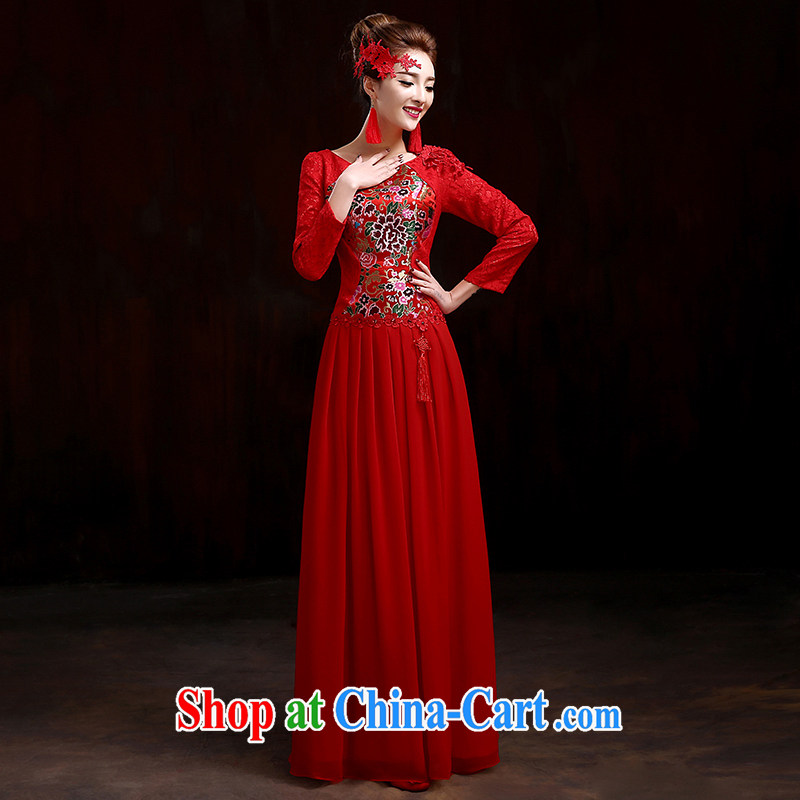 Spring bridal toast service 2015 New Red wedding dresses long-sleeved gown beauty and stylish wedding dresses improved cheongsam dress red XXXL, pure bamboo love yarn, shopping on the Internet
