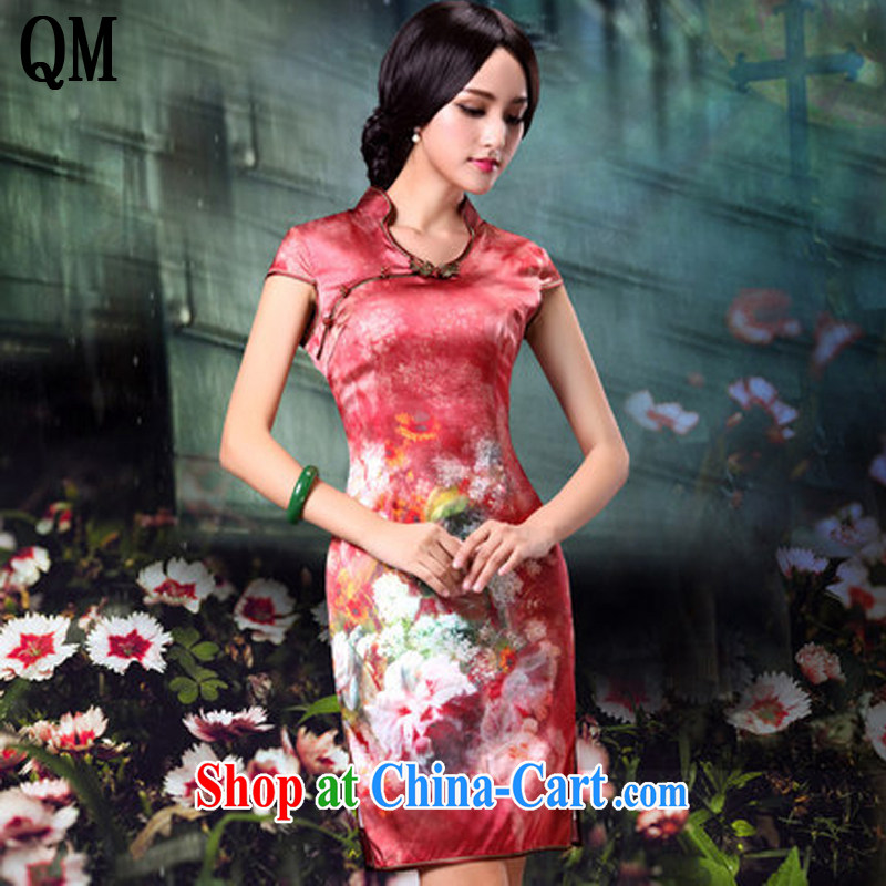 light at the retro style floral Silk Cheongsam dress, bridal wedding dress dresses AQE 014 red XXXL