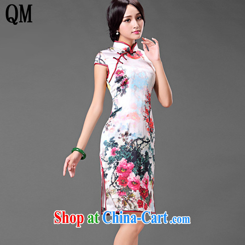The end is the need for high-cut Silk Cheongsam retro improved daily sauna silk dress dresses summer short-sleeve female AQE 016 Map Color XXXL