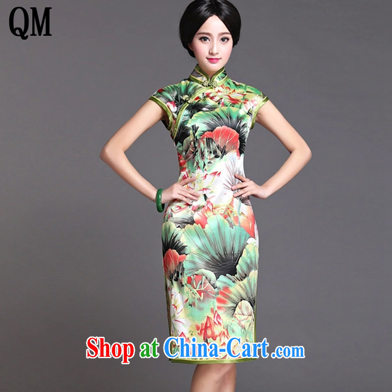 The light green flouncing upscale Silk Cheongsam dress Chinese Korea Chinese Dress sauna retro Silk Dresses summer AQE 020 green XXXL