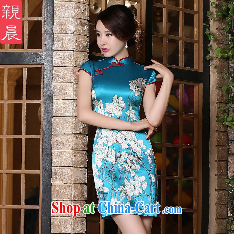 pro-am 2015 new daily improved stylish short, short-sleeved, heavy sauna silk Silk Cheongsam dress blue 3 XL