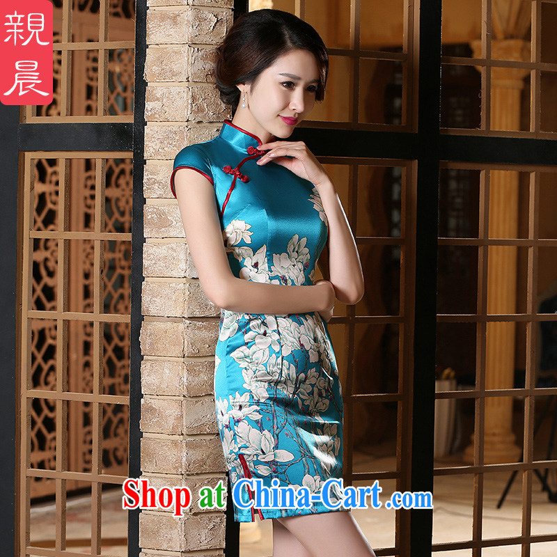 pro-am 2015 new, improved day-style short, short-sleeved, heavy sauna silk Silk Cheongsam dress blue 3 XL, pro-am, shopping on the Internet
