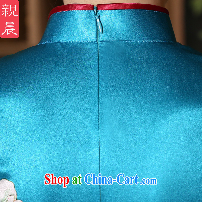 pro-am 2015 new, improved day-style short, short-sleeved, heavy sauna silk Silk Cheongsam dress blue 3 XL, pro-am, shopping on the Internet
