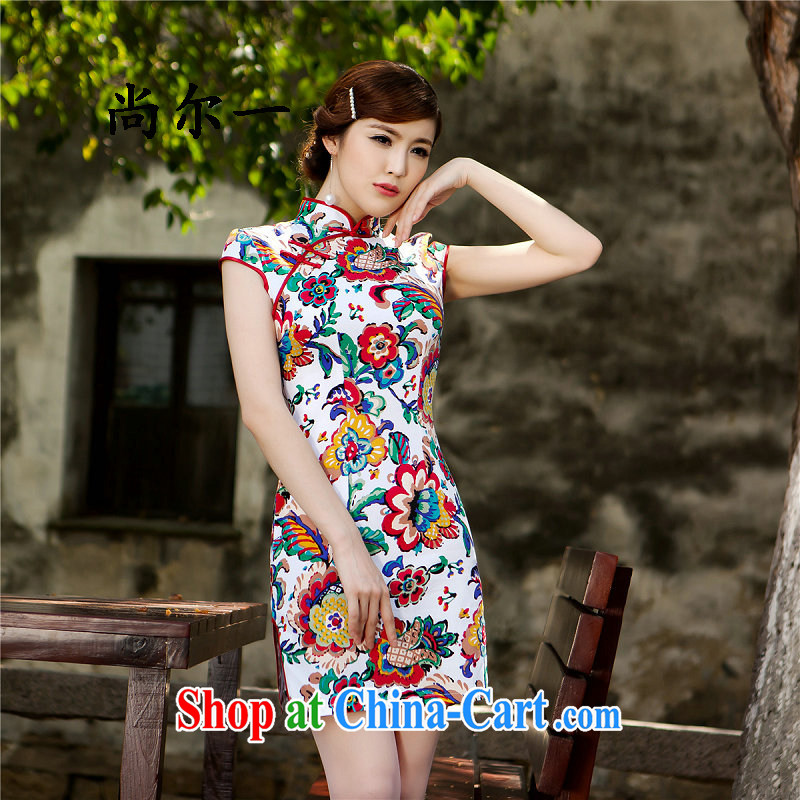 Still, 12,015 summer new, improved fashion, long, stamp duty improved cheongsam qipao stylish 5219 Map Color XXL