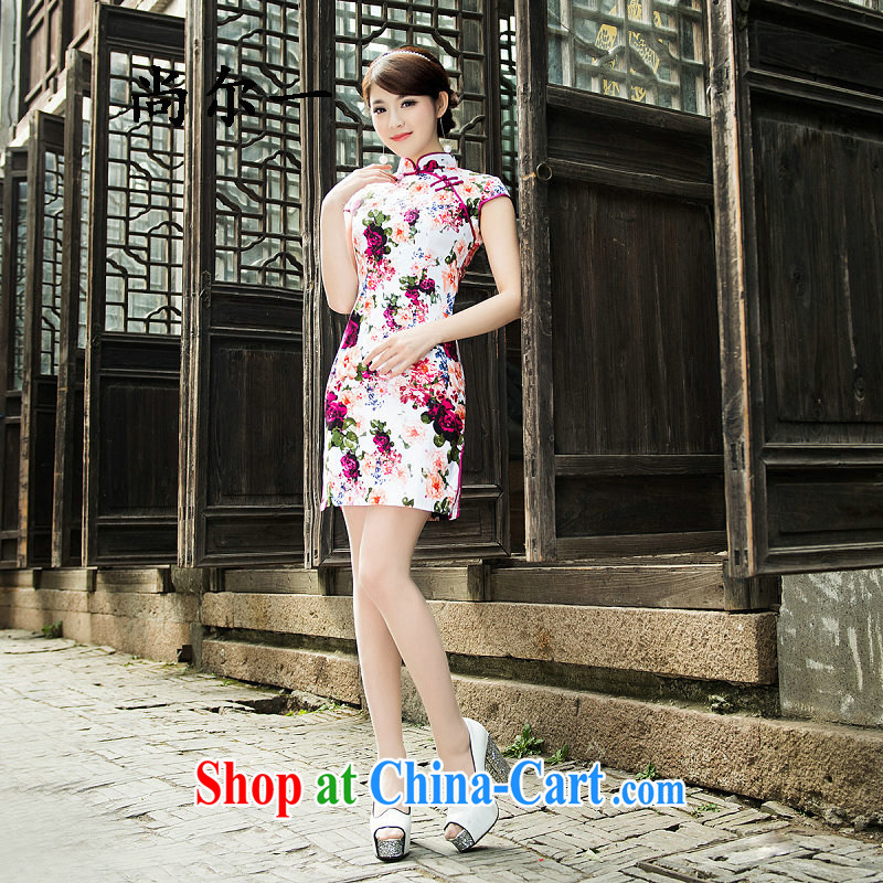 There's a qipao spring and summer dresses stylish and improved cultivation cheongsam retro style cotton the cheongsam 52,110 Map Color XXL