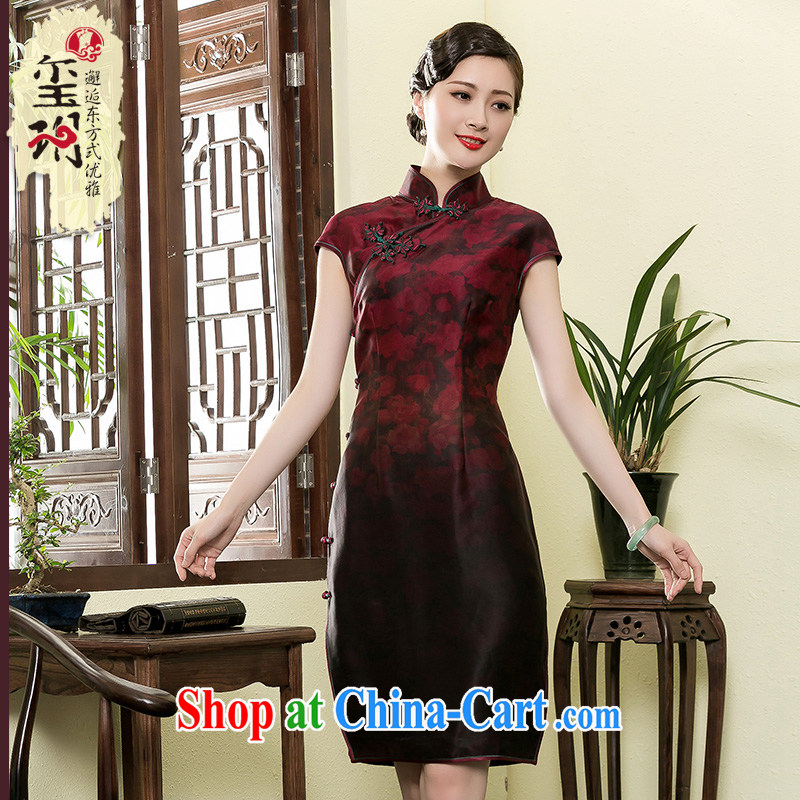 Yin Yue NARS summer 2015 high-end scent cloud yarn, long dresses retro improved middle-aged daily Silk Cheongsam dress picture color XXXL