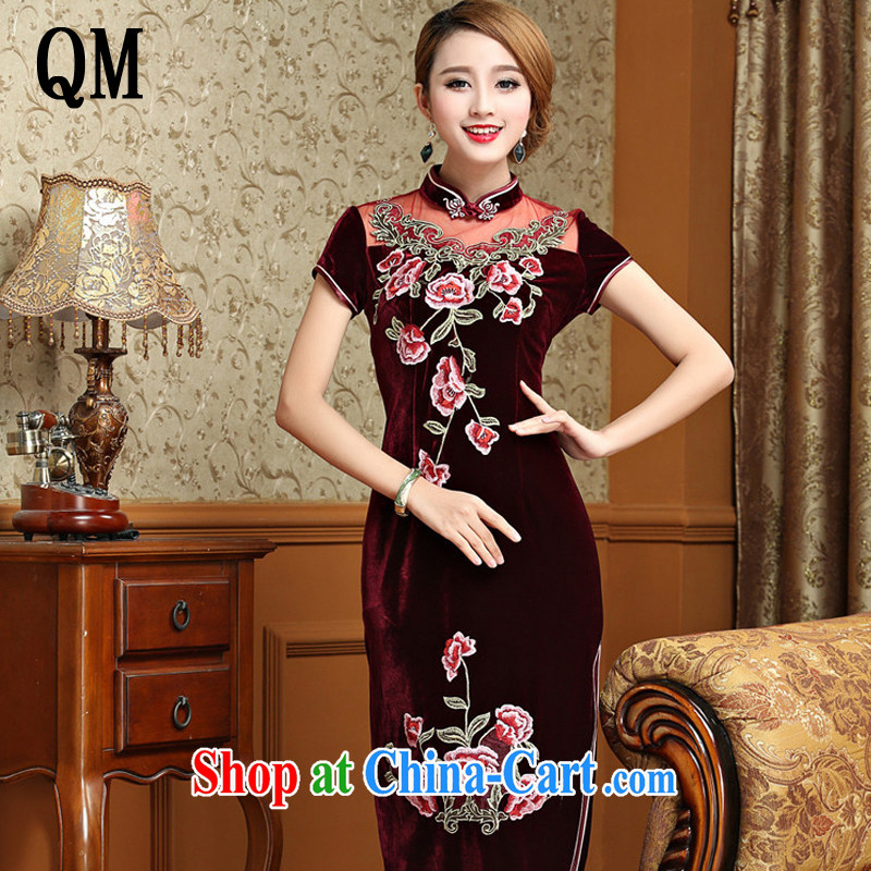Very high end gold velour cheongsam dress, long, short-sleeved wedding dress retro toast AQE serving 025 wine red XXXL