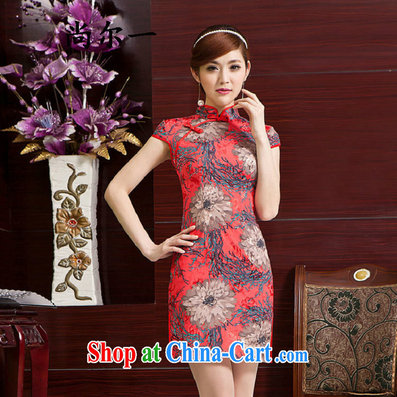 There is a summer new stamp cheongsam short improved short, cultivating retro fashion cheongsam 52,111 Map Color XXL