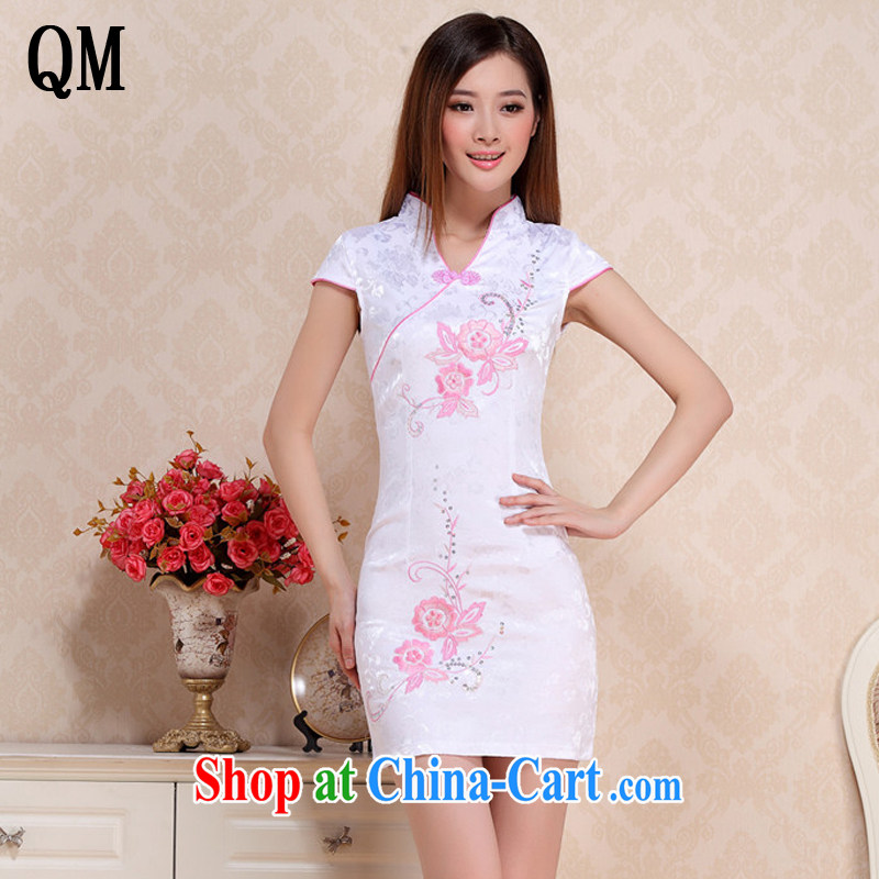 light at the Summer retro beauty short cheongsam lady literary aura girl cheongsam dress uniform performances AQE 0711 blue XXL