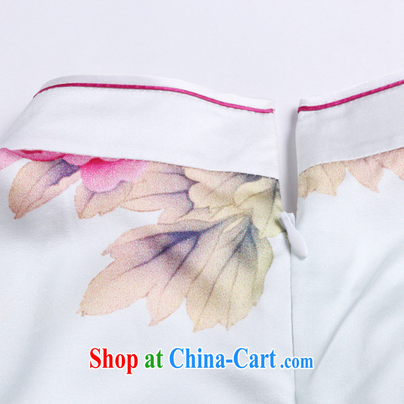light at the summer short-sleeved Silk Cheongsam dress retro fashion high quality sauna Silk Dresses small dress AQE 026 Map Color XXL, shallow end (QM), shopping on the Internet