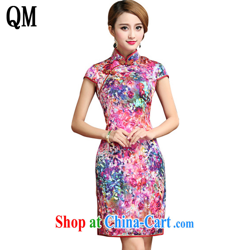 Shallow end Silk Cheongsam dress 2015 summer sauna silk Chinese Dress dress short cheongsam AQE 028 Map Color XXL