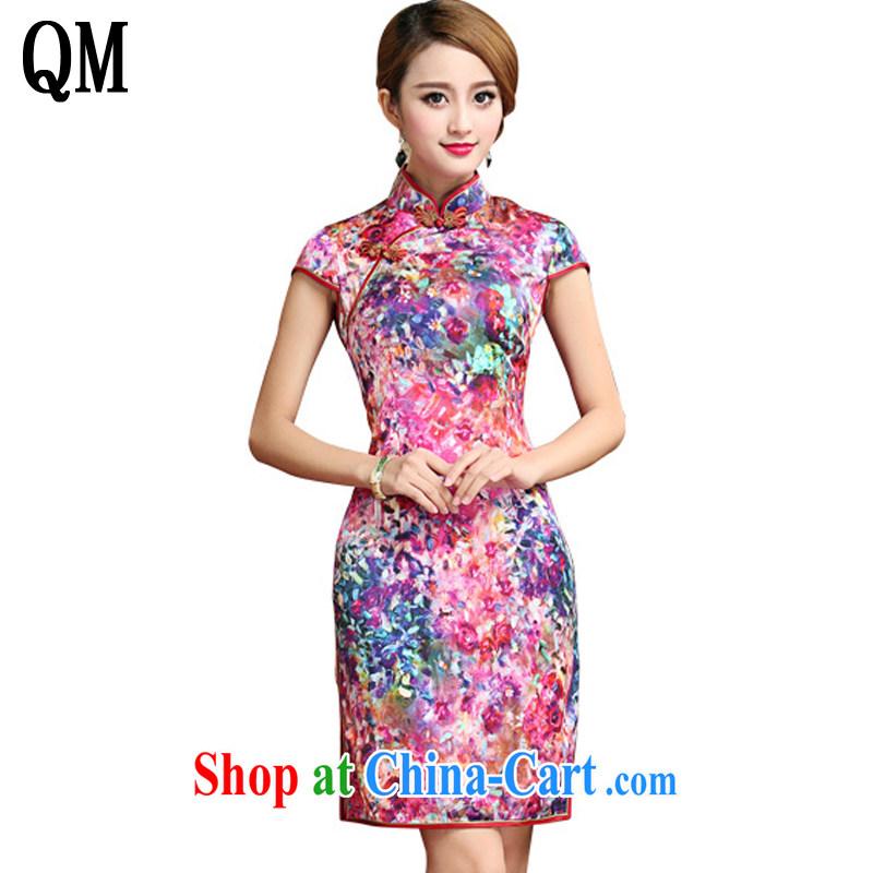 Shallow end Silk Cheongsam dress 2015 summer sauna silk Chinese Dress dress short cheongsam AQE 028 Map Color XXL