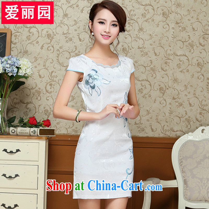 Alice Park 2015 summer new female ethnic wind retro improved cultivation short dresses qipao package and skirt light blue XXL