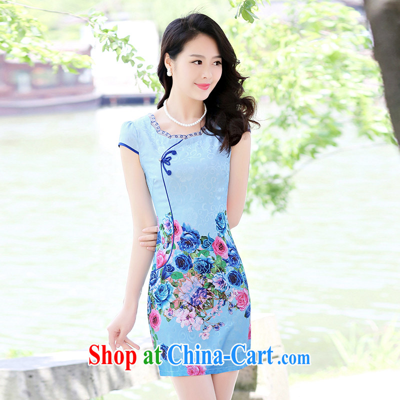 Yun-hsuan, 2015 short, sexy beauty dresses stylish A field package and stamp duty short-sleeved dresses blue roses XXL