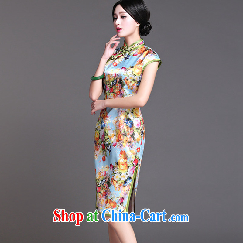 light at the retro style heavy Silk Cheongsam elegance short-sleeved, long robes AQE 017 XXXL suit, light (at the end) QM, shopping on the Internet