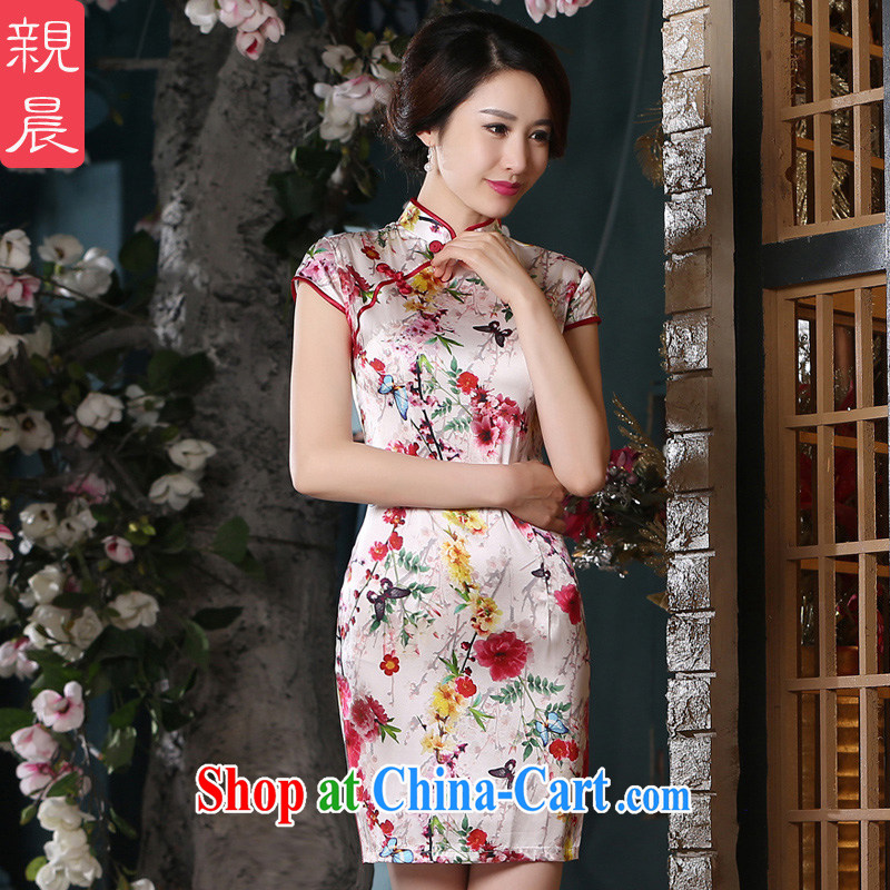 pro-am 2015 summer silk sauna silk retro improved modern day female new short cheongsam dress short 3 XL