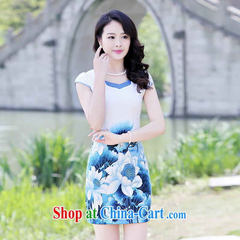Yun-hsuan, 2015 short, sexy beauty dresses stylish A field package and stamp duty short-sleeved dresses blue lotus 2 XL