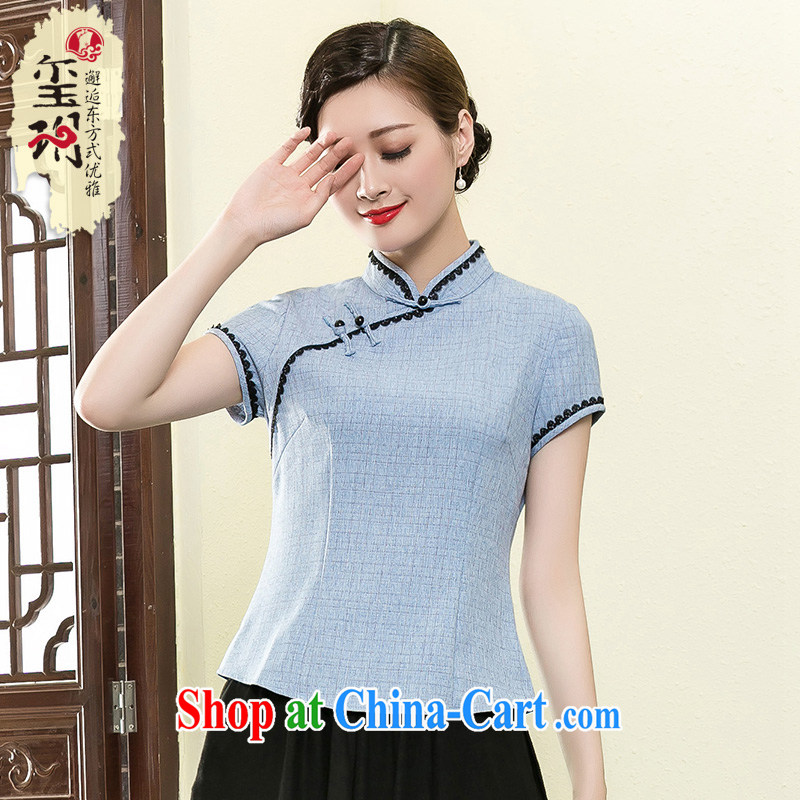 Seal 2015 Yin Yue Chinese minimalist short Chinese T-shirt elegant Ethnic Wind improved cheongsam shirt ladies shirt T toner blue XXL
