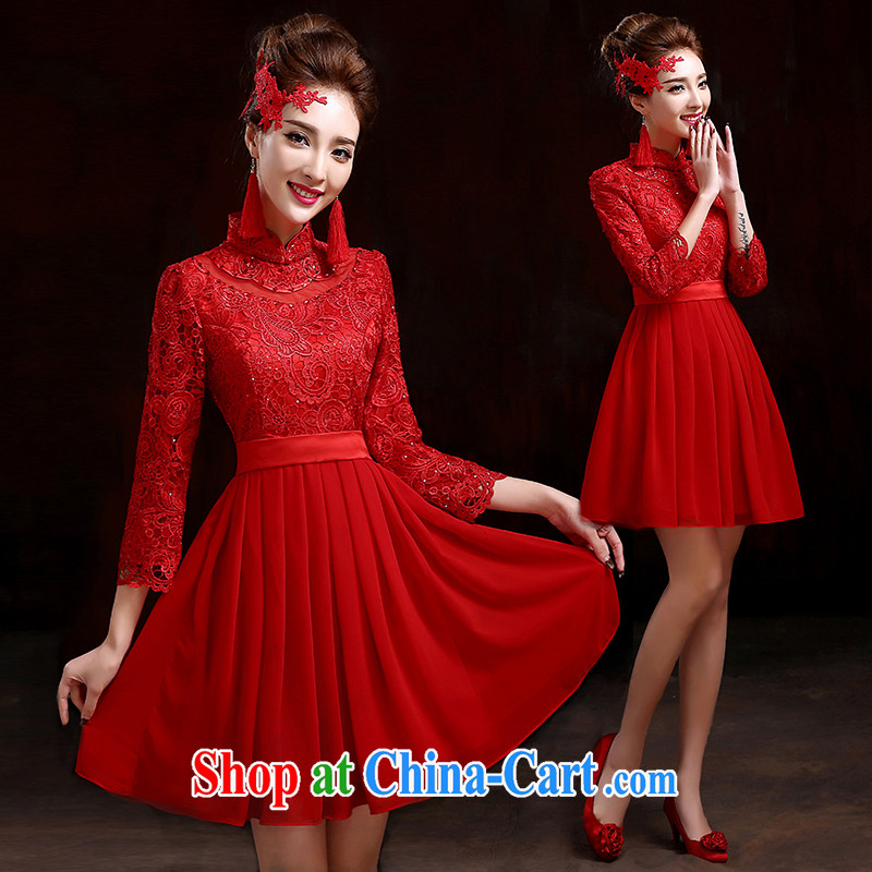 Pure bamboo love yarn 2015 toast bride dresses new dresses and stylish chair dress wedding dresses high short cheongsam improved short cheongsam dress red XXXL