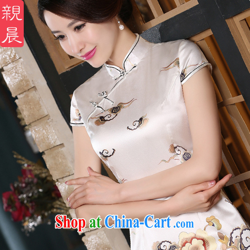pro-am 2015 new summer fashion daily improved silk short improved retro sauna Silk Dresses cheongsam short 2 XL