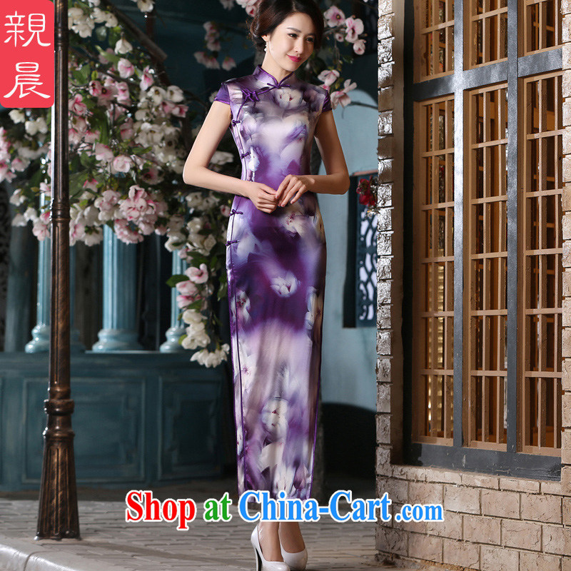 pro-am 2015 new summer fashion improved daily dress is silk sauna beauty silk retro short-sleeved dresses long 2XL