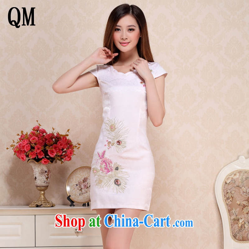 Shallow end round-collar short cheongsam retro improved day-students of cheongsam dress AQE 0738 apricot XXL