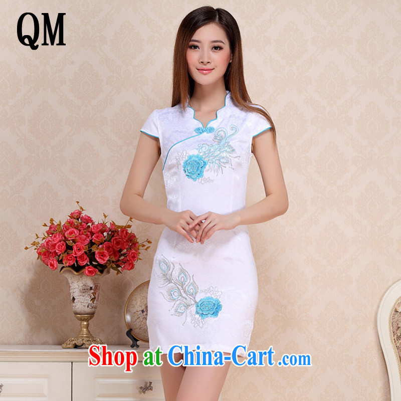 Shallow end embroidered classic elegance on dresses beach retro fashion cheongsam dress AQE 0750 blue XXL